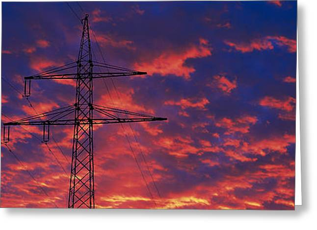 Efficient Greeting Cards - Power Lines At Sunset Germany Greeting Card by Panoramic Images