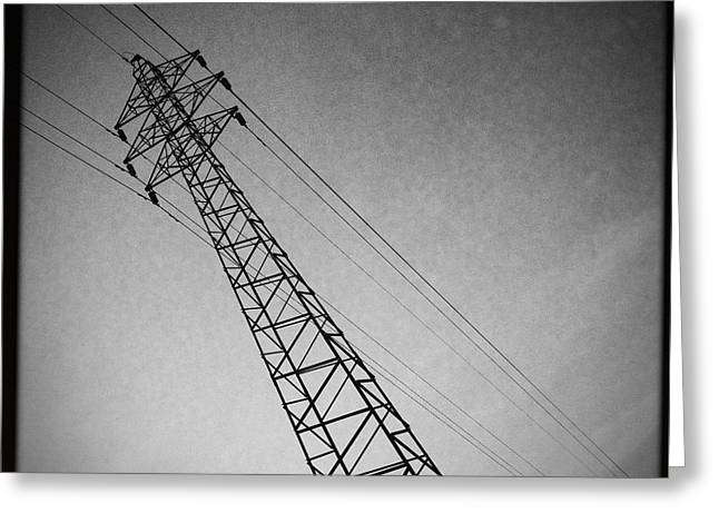 High Voltage Greeting Cards - Power Lines Greeting Card by Marco Oliveira