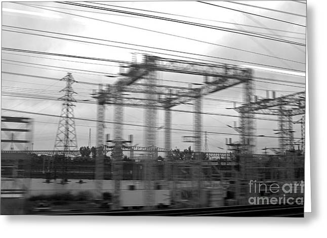 Cables Greeting Cards - Power lines Greeting Card by Tony Cordoza