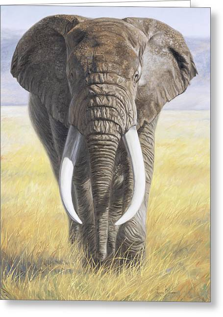 African Elephants Greeting Cards - Power Of Nature Greeting Card by Lucie Bilodeau
