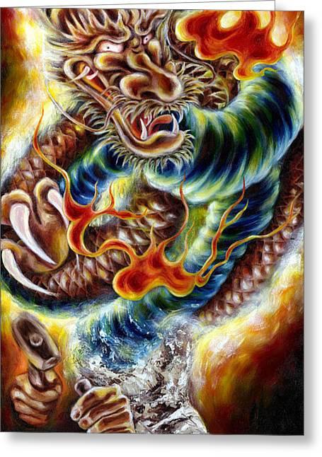 Surreal Paintings Greeting Cards - Power of Spirit Greeting Card by Hiroko Sakai