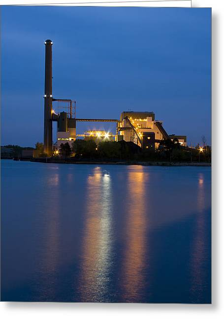 Electric Building Greeting Cards - Power Plant Greeting Card by Adam Romanowicz
