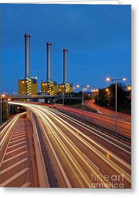 Night Lamp Greeting Cards - Power Plant And Freeway, Berlin Greeting Card by Ingo Schulz