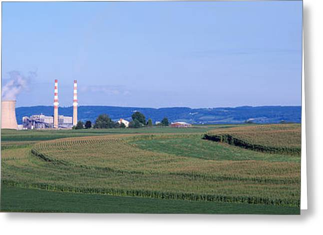 Smokestack Greeting Cards - Power Plant Energy Greeting Card by Panoramic Images