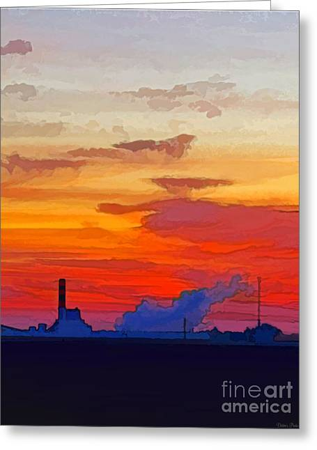 Power Plant Framed Prints Greeting Cards - Power Plant sunrise - New improved version Greeting Card by Debbie Portwood