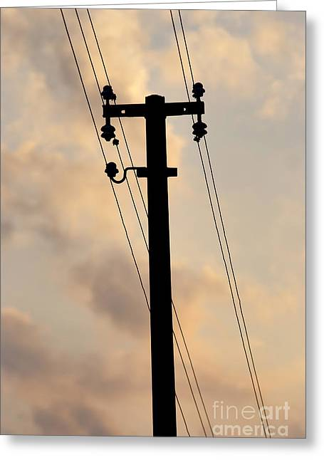 Electric Pylon Greeting Cards - Power Pole Greeting Card by Michal Boubin