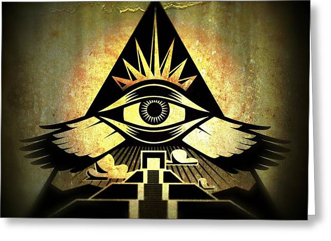 Recently Sold -  - Horus Greeting Cards - Power Pyramid Greeting Card by Milton Thompson