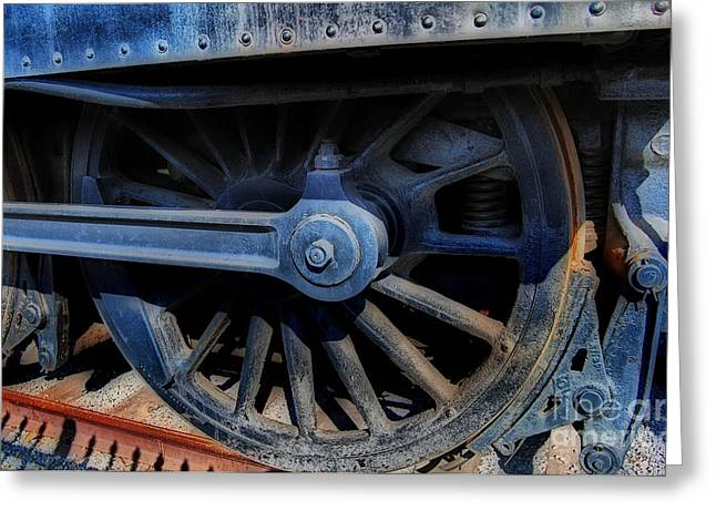 Locomotive Wheels Greeting Cards - Power Greeting Card by Skip Willits