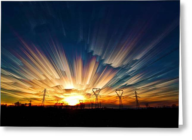 Time Stack Greeting Cards - Power Source Greeting Card by Matt Molloy