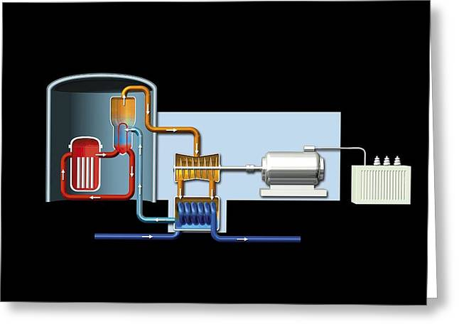 Component Greeting Cards - Power station, artwork Greeting Card by Science Photo Library