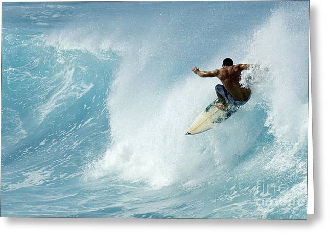 Adrenalin Greeting Cards - Surfing Power Struggle Greeting Card by Bob Christopher