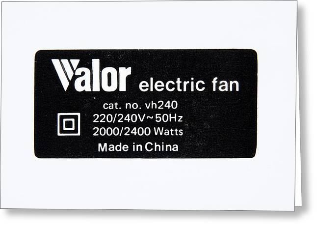 Power Supply Label Greeting Card by Trevor Clifford Photography