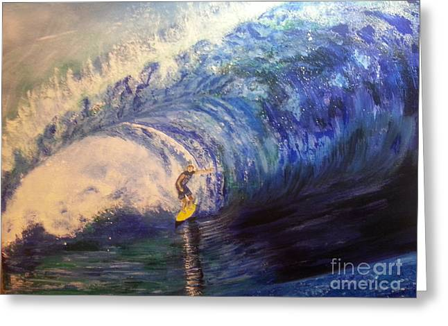 Phthalo Blue Greeting Cards - Power Surfing Greeting Card by Ordy Duker