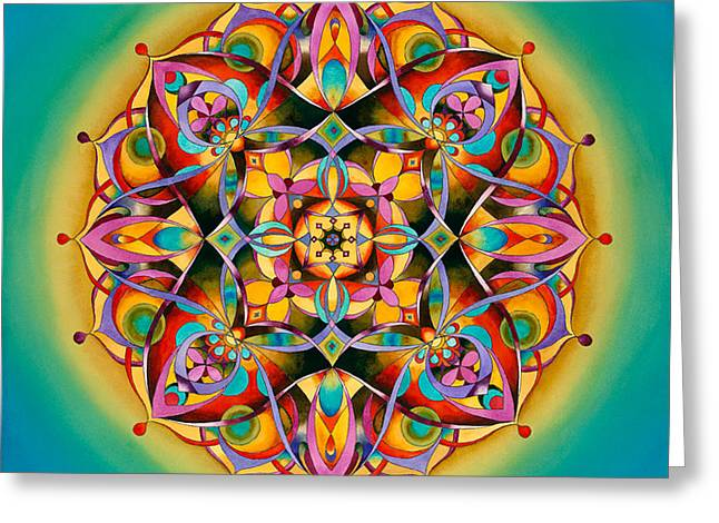 Power - Throat Chakra Mandala Greeting Card by Vikki Reed