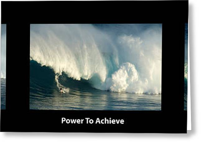 Surfing Art Greeting Cards - Power To Achieve Greeting Card by Bob Christopher