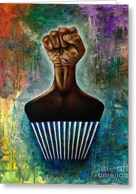 Counterculture Paintings Greeting Cards - Power To The Afro Pick Greeting Card by Ka-Son Reeves