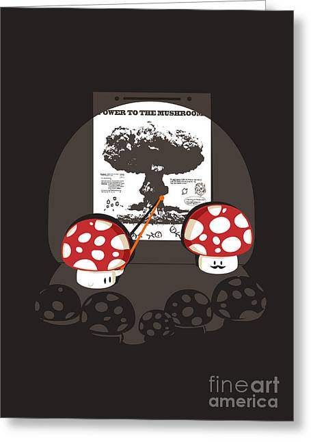 Cute Digital Art Greeting Cards - Power to the mushroom Greeting Card by Budi Kwan