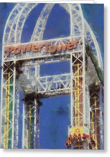 Amusements Mixed Media Greeting Cards - Power Tower Cedar Point Greeting Card by Dan Sproul