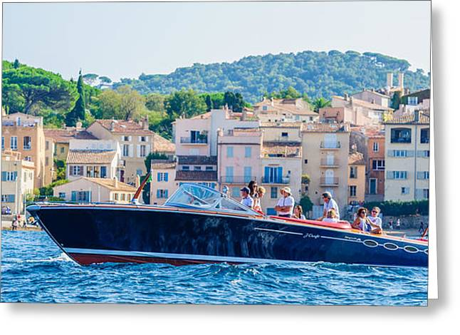 St.tropez Greeting Cards - Powerboat Greeting Card by Christian Baumgart