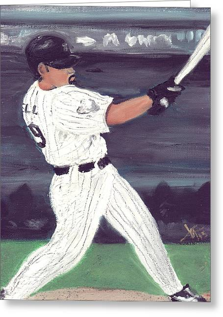 Hitter Paintings Greeting Cards - Powered by Lowell Greeting Card by Jorge Delara