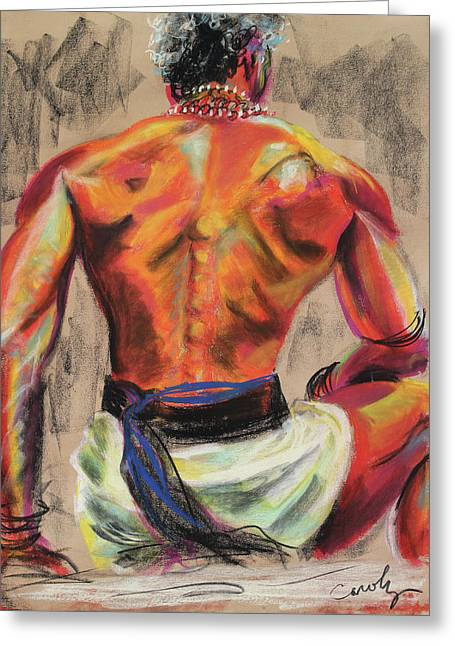 Bracelet Pastels Greeting Cards - Powerful Back of a Unique Man Greeting Card by Asha Carolyn Young