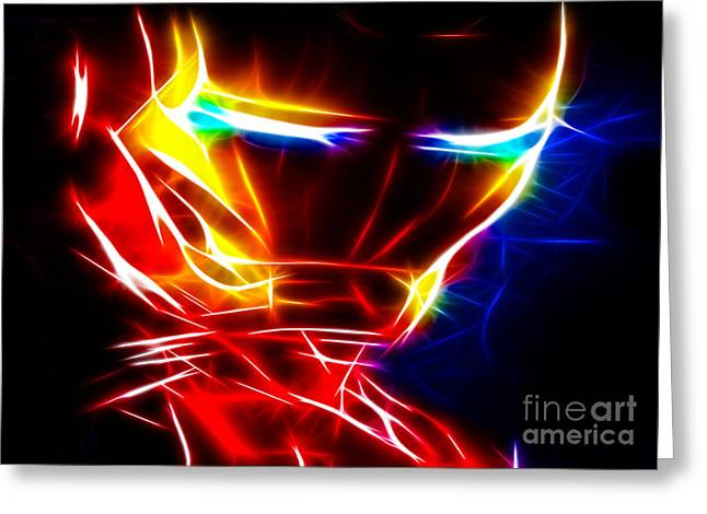 Fine Mixed Media Greeting Cards - Iron Man Powerful Look Greeting Card by Pamela Johnson