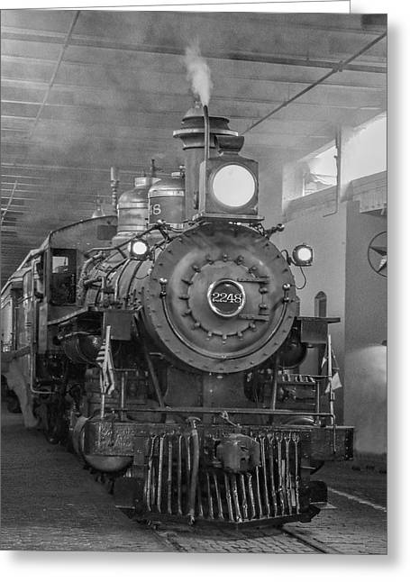 Grapevines Greeting Cards - Powerful Steam Engine Greeting Card by David and Carol Kelly