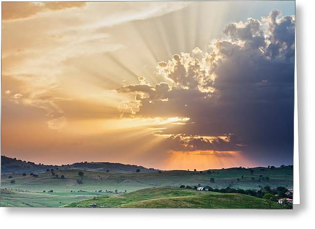 Bulgaria Greeting Cards - Powerful Sunbeams Greeting Card by Evgeni Dinev