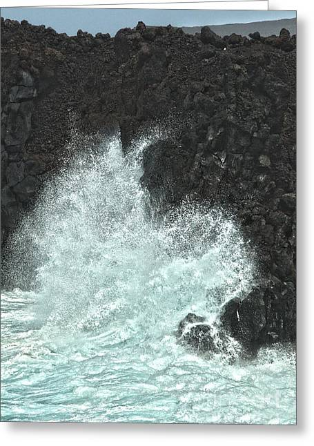 Lanzarote Greeting Cards - Powerful wave Greeting Card by Patricia Hofmeester
