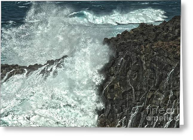 Lanzarote Greeting Cards - Powerful waves Greeting Card by Patricia Hofmeester