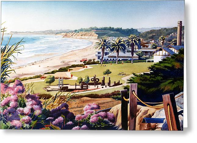 Southern California Beach Greeting Cards - Powerhouse Beach Del Mar Lilac Greeting Card by Mary Helmreich
