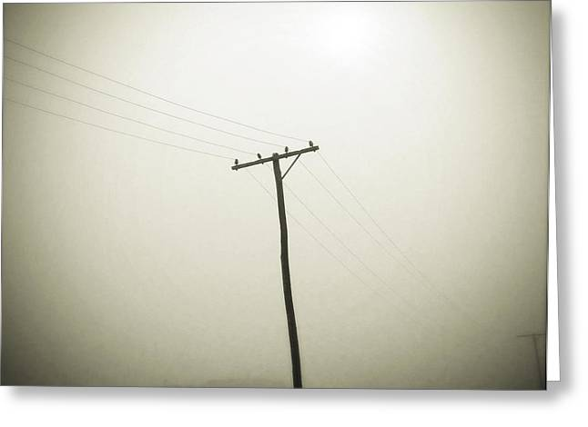 Electrical Wiring Greeting Cards - Powerlines Greeting Card by Les Cunliffe