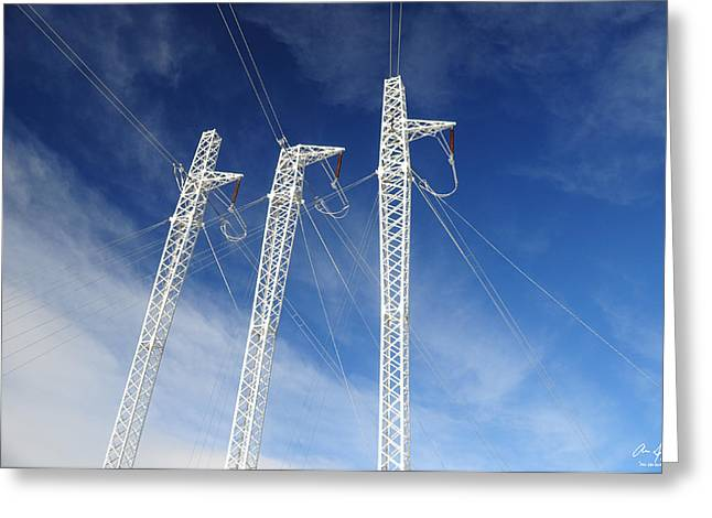 Energize Greeting Cards - Powerlines on the Mountain Greeting Card by Aaron Spong