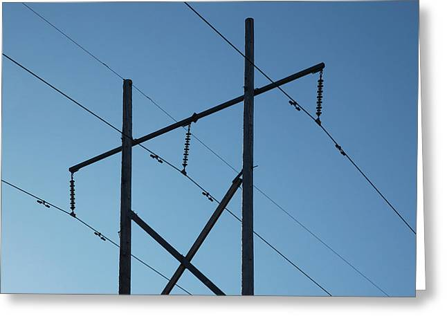 Ottawa Greeting Cards - Powerlines silhouetted against the blue autumn sky Greeting Card by Rob Huntley