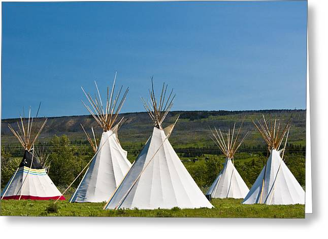 Powwow Greeting Cards - PowWow Teepees of the Blackfoot Tribe by Glacier National Park No. 3095 Greeting Card by Randall Nyhof