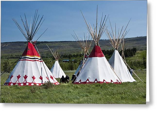 Powwow Greeting Cards - PowWow Teepees of the Blackfoot Tribe by Glacier National Park No. 3100 Greeting Card by Randall Nyhof