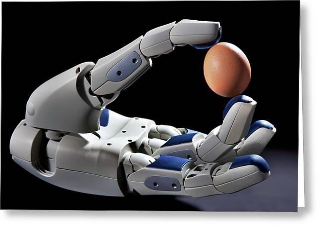 Pr2 Robot Hand Holding An Egg Greeting Card by Patrick Landmann