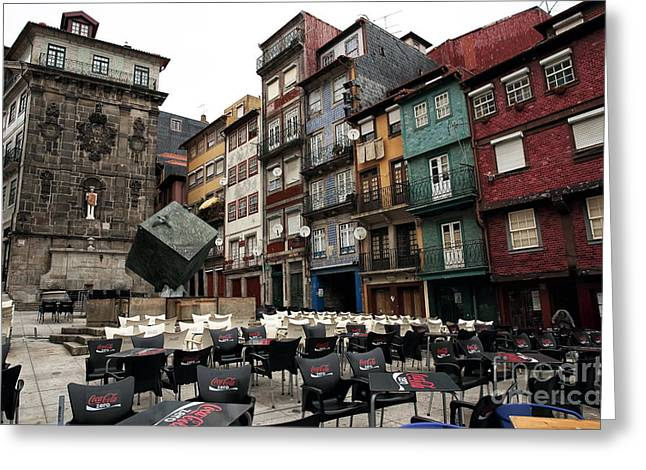 Red Buildings Greeting Cards - Praca da Ribeira Greeting Card by John Rizzuto