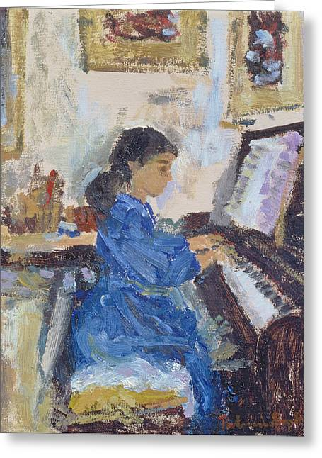 Playing Musical Instruments Greeting Cards - Practising, 1994 Greeting Card by Patricia Espir