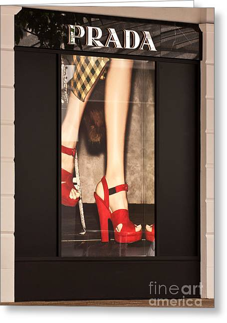 Window Display Greeting Cards - Prada Red Shoes Greeting Card by Rick Piper Photography