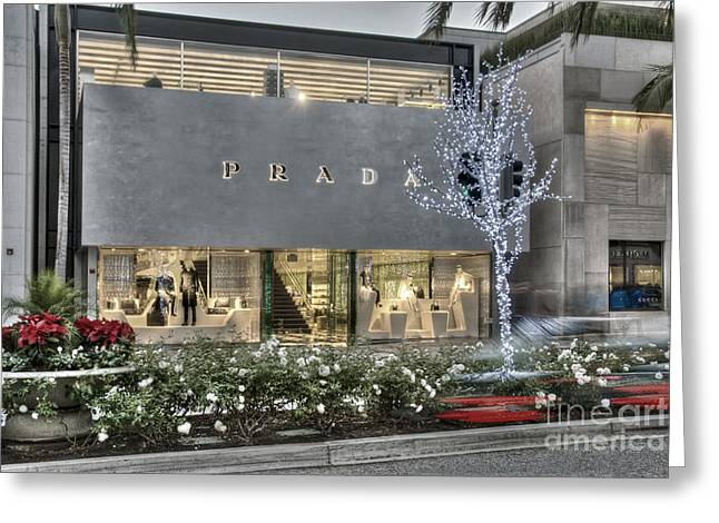 Ca Greeting Cards - Prada Rodeo Drive Beverly Hills CA Greeting Card by David  Zanzinger
