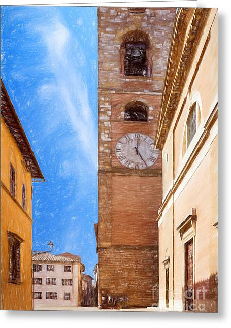 Tuscan Hills Drawings Greeting Cards - Praetorian Palace Colle Di Val DElsa Greeting Card by Ezeepics