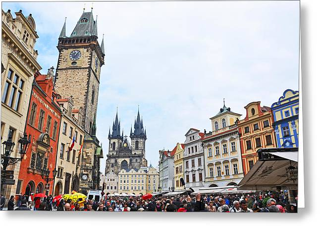 Czech Pyrography Greeting Cards - Prag City Center Greeting Card by Steffen Schumann