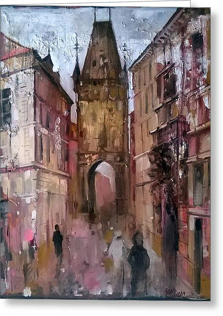 Prague Paintings Greeting Cards - Praga downtown Greeting Card by Lorand Sipos