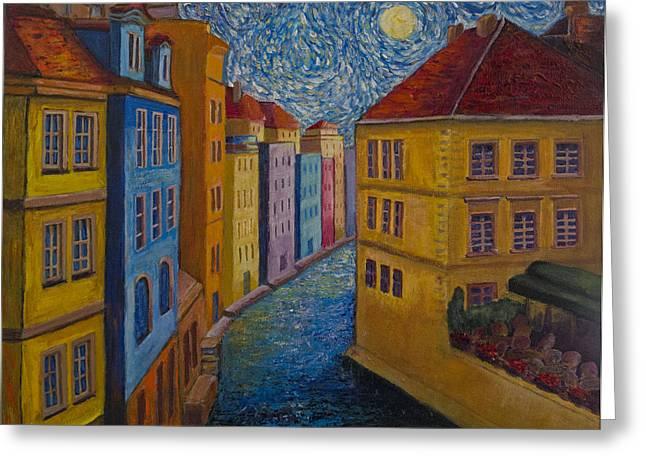 Prague Paintings Greeting Cards - Prague a la VanGogh Greeting Card by Jo-Anne Gazo-McKim