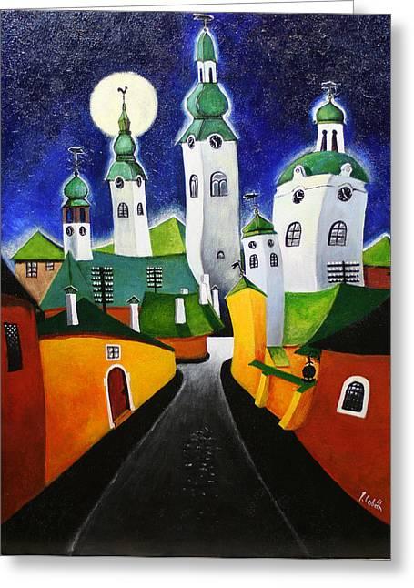 Prague Paintings Greeting Cards - Prague after Beer Greeting Card by Joseph Coban