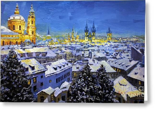 Roof Greeting Cards - Prague After Snow Fall Greeting Card by Yuriy Shevchuk