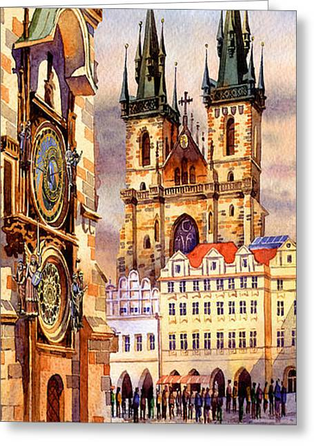 Praha Digital Art Greeting Cards - Prague afternoon astronomic clock and church Greeting Card by Dmitry Koptevskiy