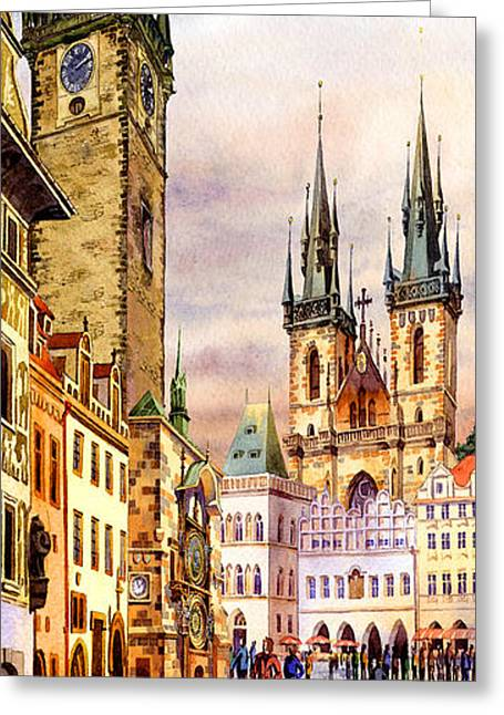Print On Canvas Greeting Cards - Prague Astronomic Clock  Greeting Card by Dmitry Koptevskiy