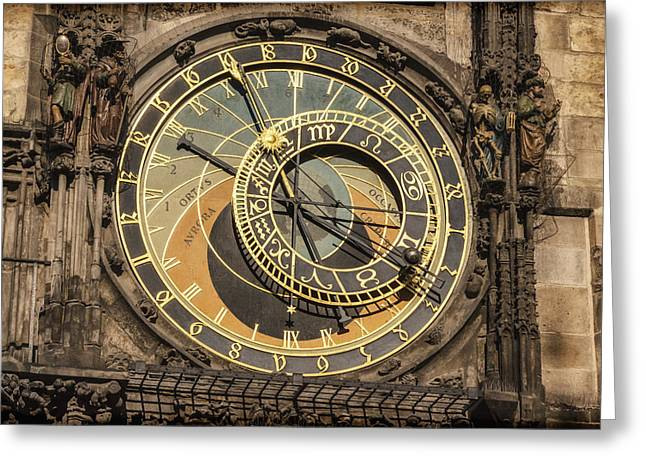 Prague Astronomical Clock Greeting Card by Joan Carroll